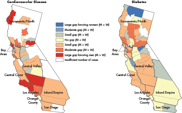 Gender Gaps in LDL Cholesterol Testing in California, by County