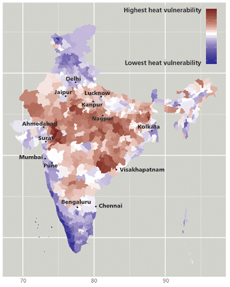 Heat Vulnerability Index Map of India, by District