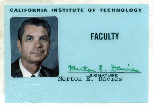 Merton Davies' California Institute of Technology faculty ID card, ca. 1960s. Courtesy of the Merton E. Davies Family