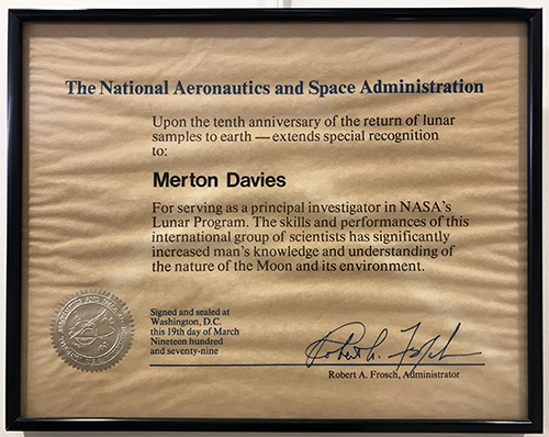NASA Certficate of Achievement. Given to Merton Davies in honor of the 10th anniversary of the Lunar Program, 1979.