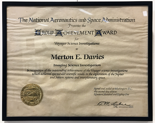 NASA Group Achievement Award. Given to Merton Davies for his work on the Voyager Imaging Science Investigation team, 1981