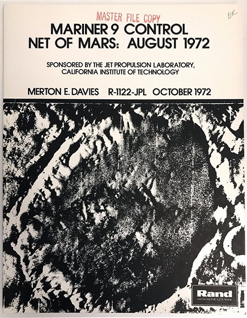 Mariner 9 Control Net of Mars (R-1122-JPL). Geodetic control net of the surface of Mars based on pictures from Mariner 9, by Merton Davies, 1972.