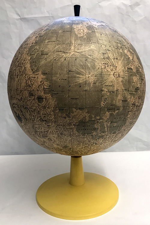 Russian Lunar Globe. Presented to Merton Davies by Dr. Vladimir Shevchenko in honor of Davies' trip to the Soviet Union, 1987.