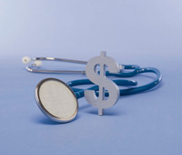 a dollar sign and a stethoscope