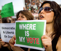 Iranian people living in France protested the 2009 the reelection of Ahmadinejad and the  irregularities in the vote count for his main opponent, the reformist Moussavi
