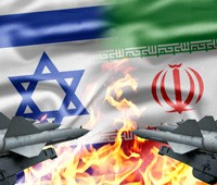 Israeli and Iranian flags, weapons, confrontation