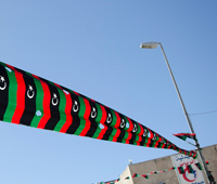 streets in Tripoli decorated for the second anniversary of the revolution against Qaddafi's regime