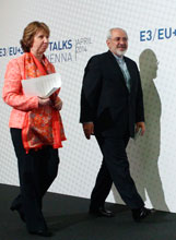 European Union Foreign Policy Chief Catherine Ashton and Iranian Foreign Minister Mohammad Javad Zarif at talks in Vienna April 9, 2014
