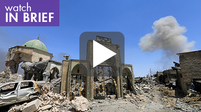 video image: The Grand al-Nuri Mosque where Abu Bakr al-Baghdadi declared a new caliphate in July 2014 is seen in ruins after it was retaken by Iraqi forces from Islamic State militants, June 30, 2017, photo by Alaa Al-Marjani/Reuters