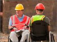 project engineers on site in wheelchairs