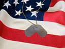 military tags on an American flag