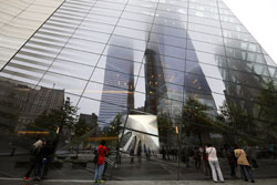 An image of one of the original World Trade Center Towers is displayed in the window