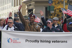 Veterans and employers marching in parade to promote 100,000 Jobs Mission