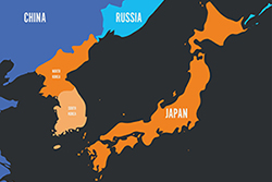Map of the Korean Peninsula and Japan, photo by PytyCzech/Getty Images