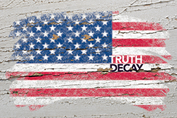 flag of USA on grunge wooden texture painted with chalk, The words Truth Decay over a fading American flag painted on wood, photo by vepar5/Adobe Stock