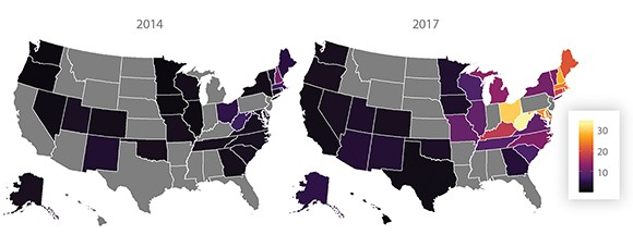 Figure 1 from RR-3116. Synthetic opioid overdose death rate per 100,000 by state, 2014 and 2017.