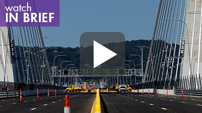 video image: The West bound roadway of the new Governor Mario M. Cuomo Bridge that is to replace the current Tappan Zee Bridge over the Hudson River, photo by Mike Segar/Reuters