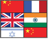 flags of China, France, UK, India, Israel