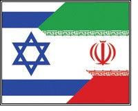The flags of Israel and Iran