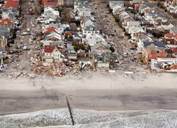 Aerial views of Hurricane Sandy damage to homes on Long Beach, photo by Andrea Booher/FEMA