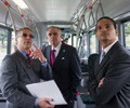 Secretary of Transportation Ray LaHood tours a Hydrogen fuel cell powered bus at the California Fuel Cell Partnership in West Sacramento, Calif. Official White House Photo by Lawrence Jackson.