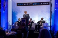 RAND president and CEO Michael Rich welcomes guests