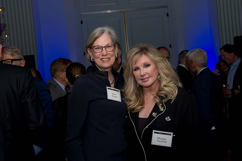 Karen Elliott House, chair of the RAND Board of Trustees, with Morgan Fairchild