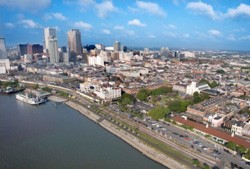 aerial view of downtown New Orleans