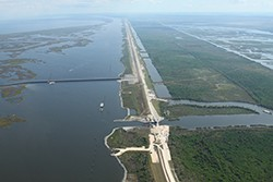 Flood wall construction along the Mississippi River Gulf Outlet, New Orleans, Louisiana