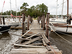 Docks destroyed at a marina by Hurricane Florence on 9/13/18 in Oriental, NC