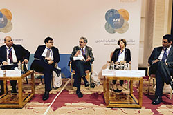 Peter Glick (center) and fellow panelists during the Arab Youth Employment Conference in Jordan