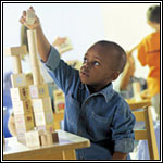 Preschool boy with blocks