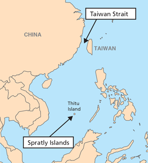 Map showing location of Taiwan and Spratly Islands in relation to Mainland China