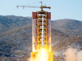A long-range rocket is launched at the Sohae launch site in North Korea, February 7, 2016