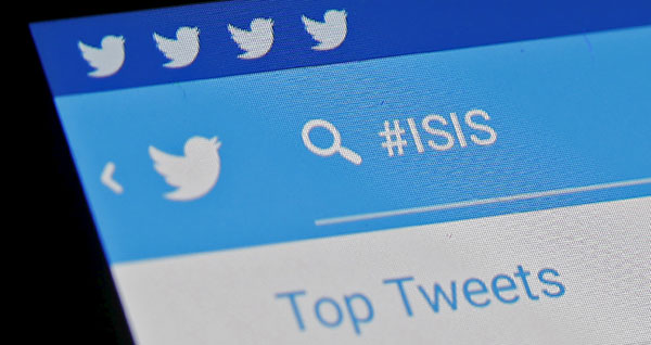 The ISIS hashtag is seen typed into a Twitter smartphone app, February 6, 2016