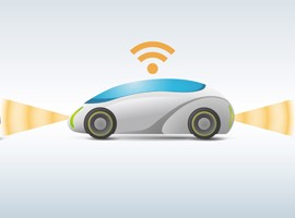 Illustration of a self-driving car