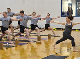 U.S. Army soldiers take a yoga class at Fort Campbell, Kentucky, April 23, 2015