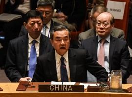 China's Foreign Minister Wang Yi speaks at a United Nations Security Council meeting on North Korea, New York City, April 28, 2017