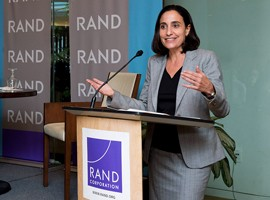 Dalia Dassa Kaye speaks at an event at RAND's headquarters campus in Santa Monica, California, September 19, 2016