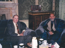 U.S. Ambassador James Dobbins meets with Afghan leader Hamid Karzai in Kabul, December 2001