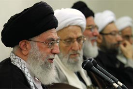 Iranian Supreme Leader Ayatollah Ali Khamenei speaks to the Experts Assembly in Tehran.