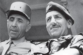 French Generals Robert Allard, left, and Jacques Massu oversee their domain in Oran, Algeria, on May 22, 1958.