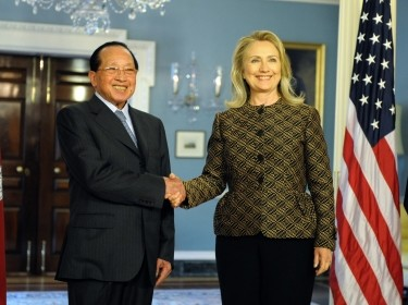 U.S. Secretary of State Hillary Rodham Clinton meets with Deputy Prime Minister and Foreign Minister Hor Namhong of Cambodia at the Department of State in Washington, D.C. on June 12, 2012