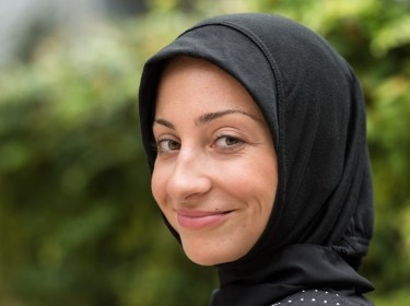 A woman wearing a headscarf