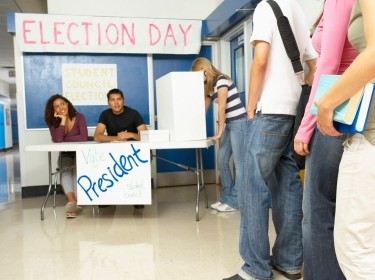 High school students holding a class election