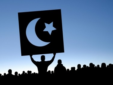 Arab Spring protestors holding up a symbol from the Tunisian flag