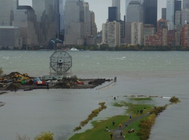 Morris Canal Park in New York City with portions flooded by Sandy's storm surge, at high tide.