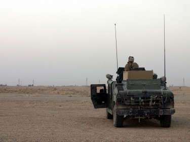 A U.S. Marine vehicle on patrol outside of Fallujah.