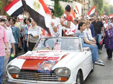 Crowd going to Tahrir square to join the June 30 protests against the Muslim brotherhood and President Morsi