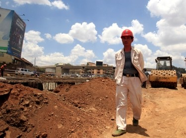 A Chinese contractor at the site of the Nairobi-Thika highway project